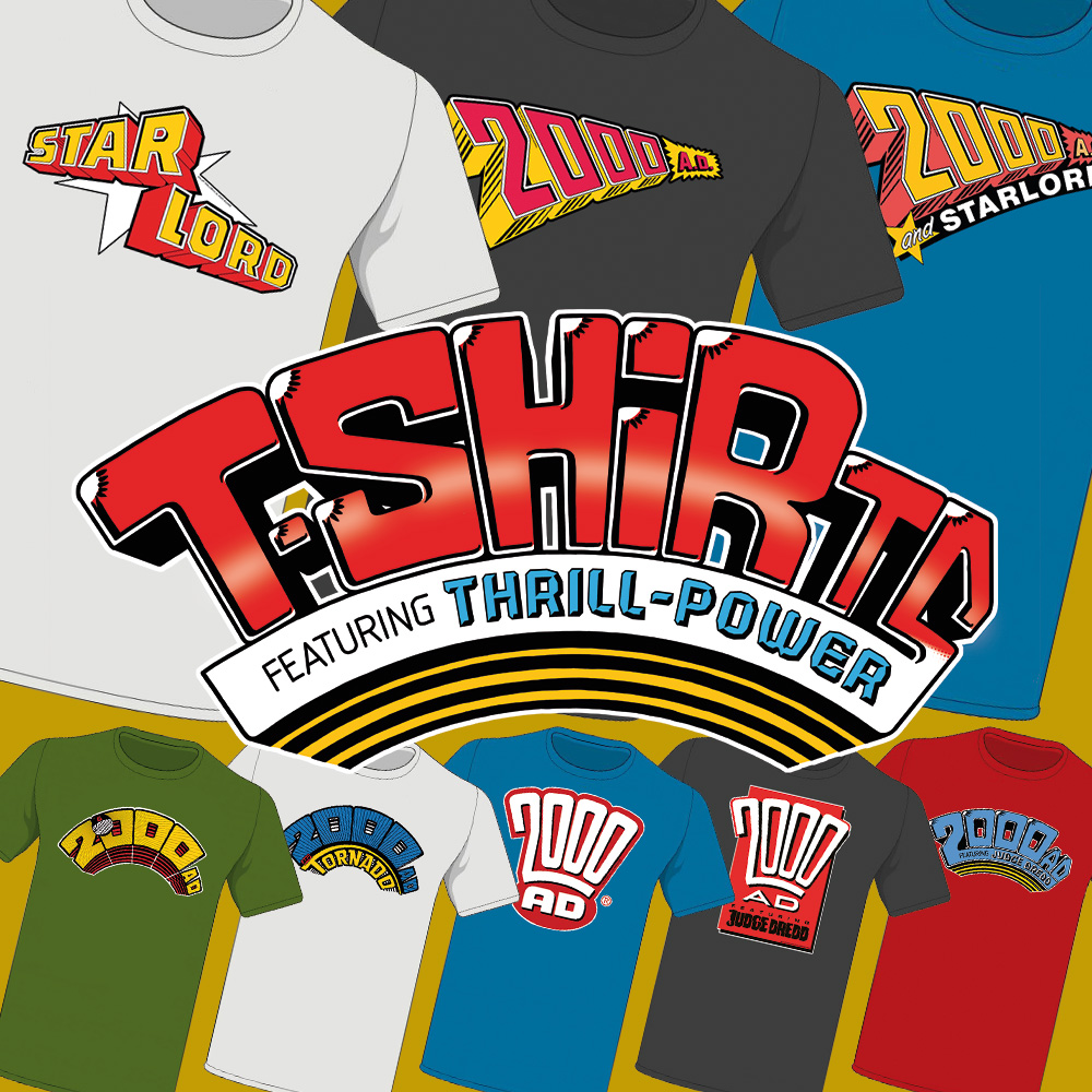 Get your favourite classic 2000 AD logo on a T-shirt and wear your Thrill-power with pride!