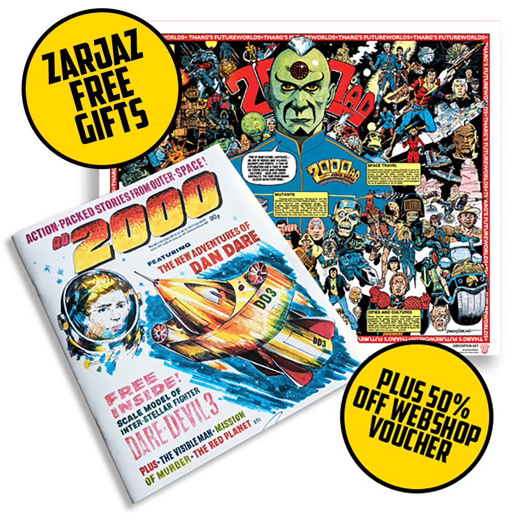 Subscribe now to 2000 AD and receive zarjaz free gifts!